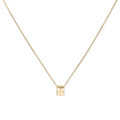 "Gold Plated Square ""Brave"" Necklace"