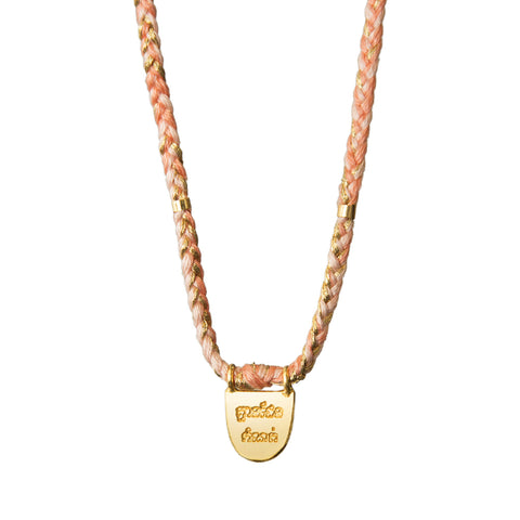 "Gold Vermeil ""Without Limits"" Necklace on Flamingo Cotton Cord"