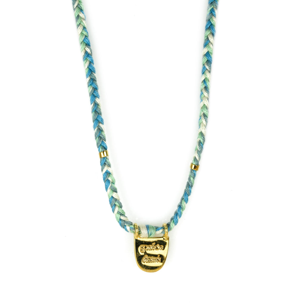 "Brave Gold Vermeil ""Without Limits"" Necklace on Ocean Mix Cord"
