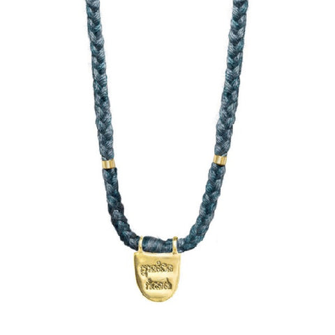 "Gold Vermeil ""Without Limits"" Necklace on Teal Cotton Cord"
