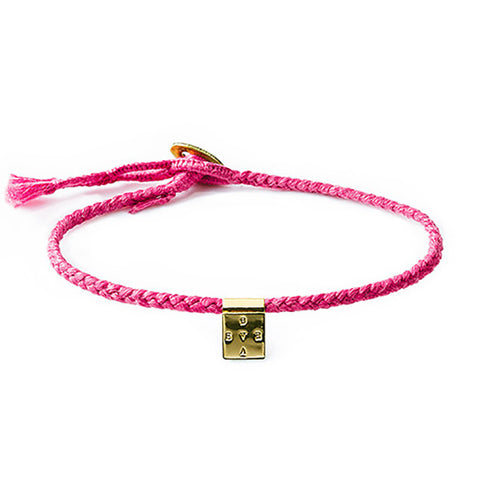 "Limited Edition ""Brave"" Bracelet on Pink Cotton Cord"
