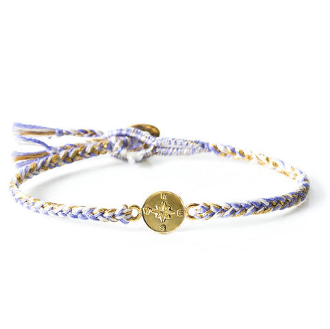 "Brass ""Compass"" Bracelet on Lilac Cotton Cord"