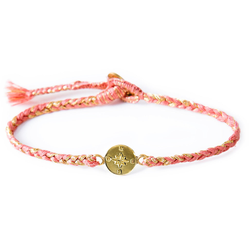"Brass ""Compass"" Bracelet on Guava Mix Cotton Cord"