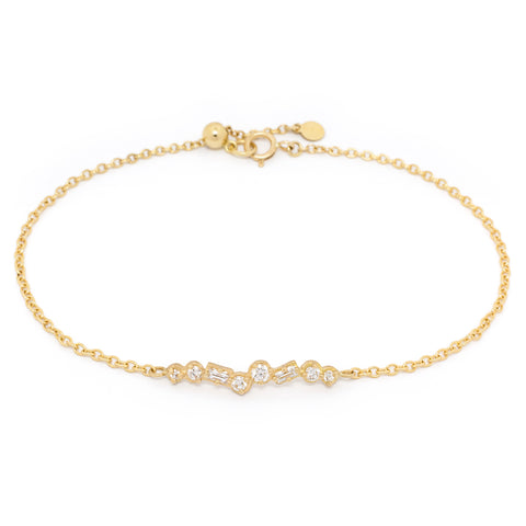 "Anne Sportun Gold ""Festival"" Bar Bracelet with Round and Baguette Diamonds"