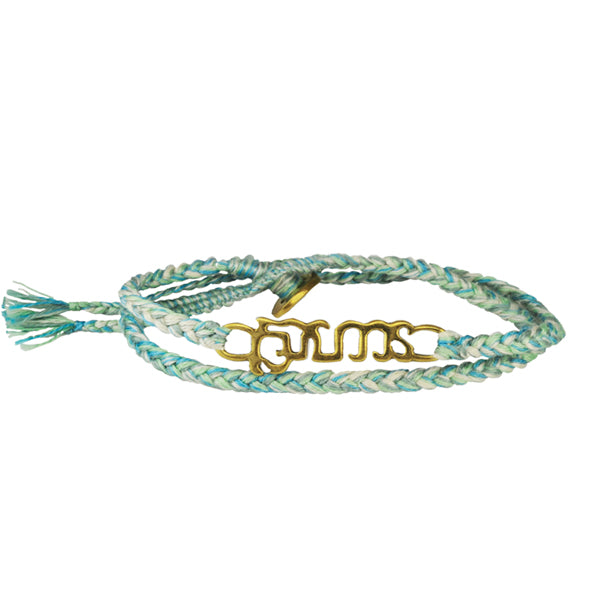 "Brass ""Brave"" Bracelet on Ocean Mix Cotton Cord"