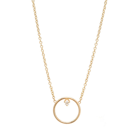 Open Circle Necklace with Single Prong-Set Diamond