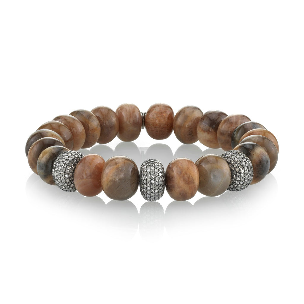 Sunstone Beaded Bracelet with Three Pave Diamond Rondelles