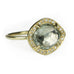 Gold Pale Green Tourmaline Ring with Pave Diamond Halo