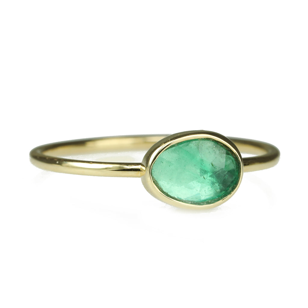 Gold Bezel-Set Bright Green Tourmaline Ring