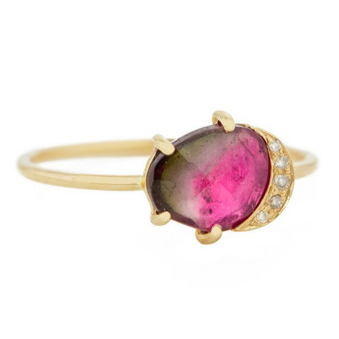Watermelon Tourmaline Ring with Diamond Crescent