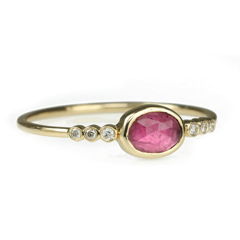 Gold Oval Bezel-Set Pink Tourmaline Ring with Diamonds