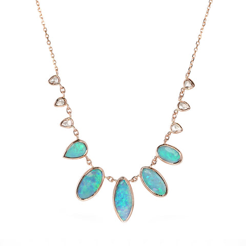 Rose Gold Bezel-Set Multi-Drop Opal Doublet Necklace