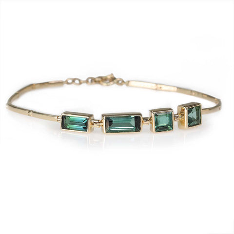 Celine Daoust Gold & Emerald Cut Green Tourmaline Bar Bracelet