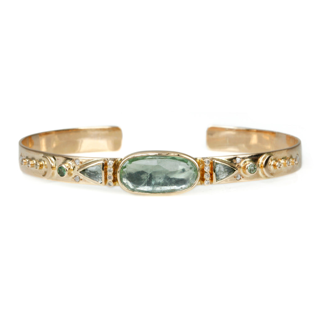 Celine Daoust Green Tourmaline and Diamond Cuff Bracelet