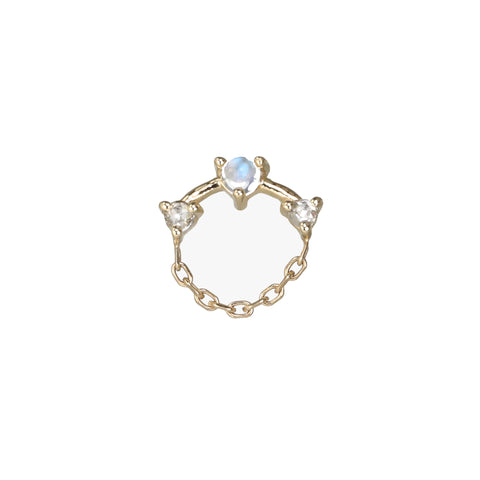 "Gold Moonstone and Diamond ""Round Chain"" Stud"