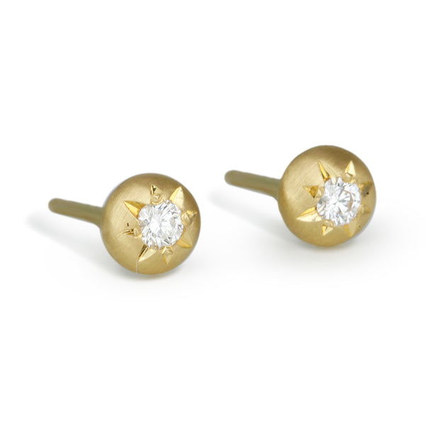Gold and Star-Set Diamond Small Post Earrings