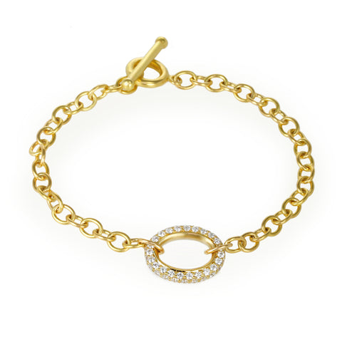 Gold Link Bracelet with Large Pave Diamond Link