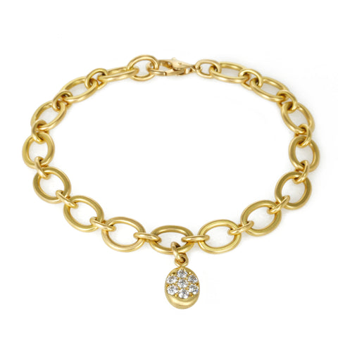 Gold Link Bracelet with Pave Diamond Oval Charm