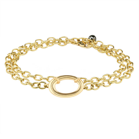 Caroline Ellen 20K Gold Double Wrap Bracelet with Large Oval Centerpiece