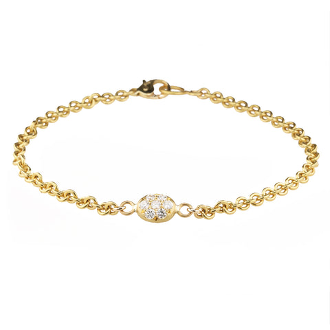 "Caroline Ellen 20K Gold Double-Sided Pave Diamond ""Nugget"" Bracelet"