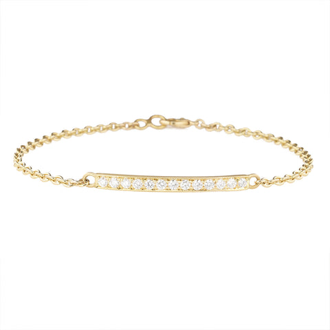 Caroline Ellen 20K Gold Pave Diamond Bar Bracelet