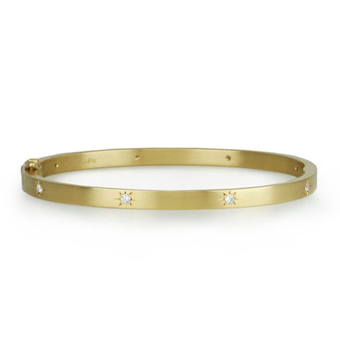 Caroline Ellen Gold and Star-Set Diamond Oval Hinged Bracelet