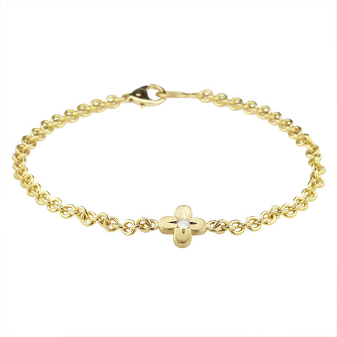 "Caroline Ellen 20K Gold & Diamond ""Four Petal Flower"" Bracelet"