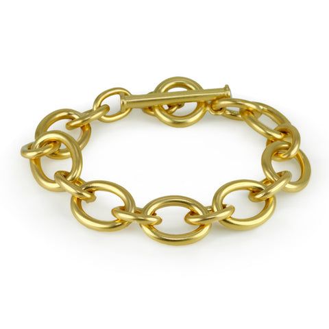 Large Gold Alternating Link Bracelet