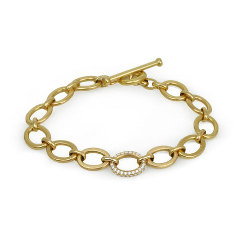 20K Yellow Gold Oval Link Chain Bracelet With Single Pave Diamond Link