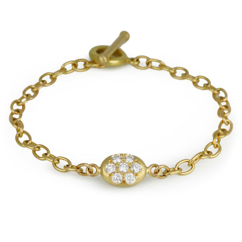 Gold Link Bracelet with Pave Diamond Nugget