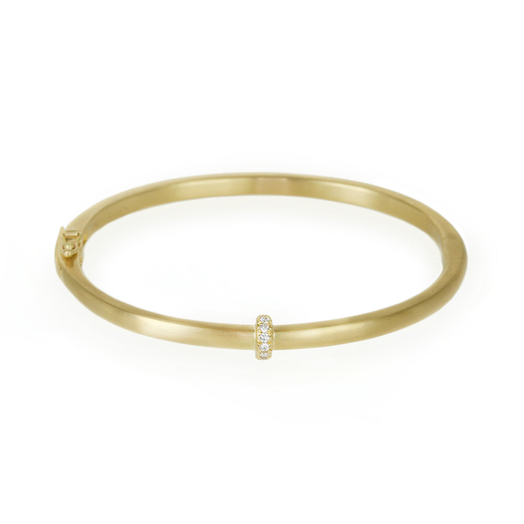 Gold Thin Single Row Pave Diamond Hinged Bangle