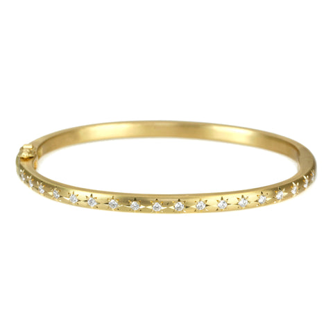 Caroline Ellen Gold Rounded Narrow Hinged Bangle with 18 Star-Set Diamonds