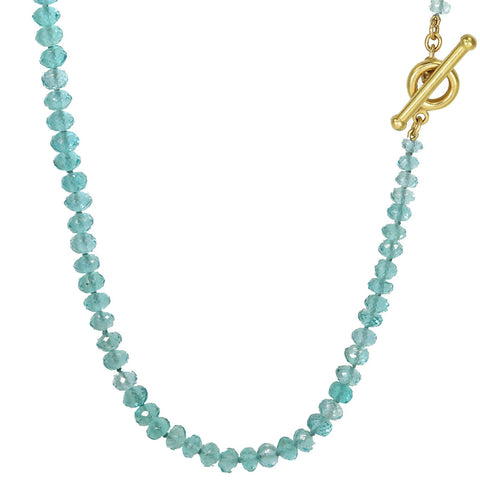 Caroline Ellen Gold and Faceted Apatite Rondelle Beaded Necklace