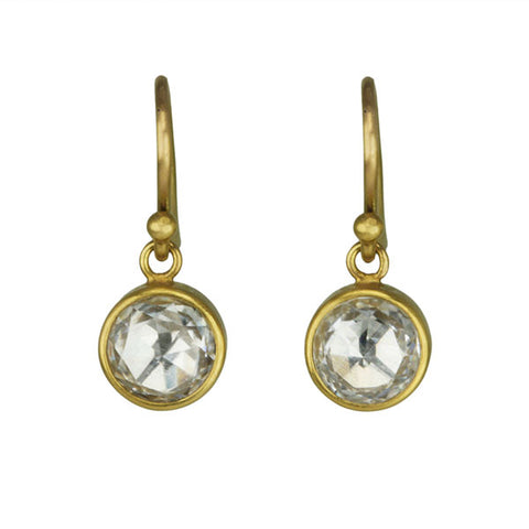 22K Gold and White Zircon Earrings