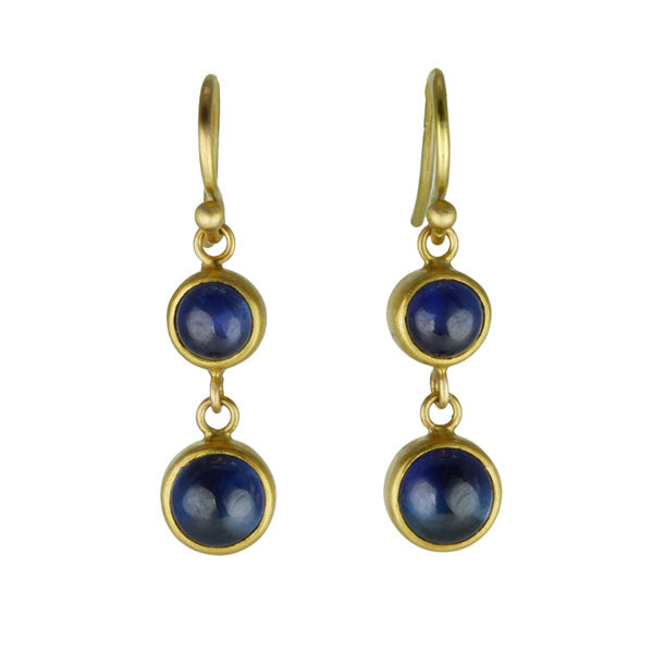 22 Karat and 20 Karat Yellow Gold Double-Drop Cabochon Blue Sapphire Earrings