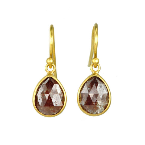22K Gold and Red-Brown Diamond Drop Earrings