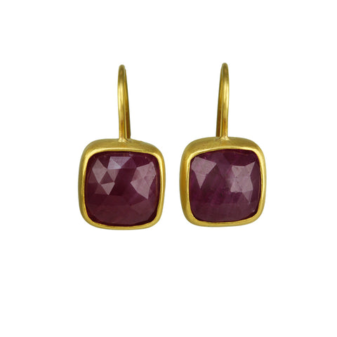 22K Gold Square Rose-Cut Ruby Earrings