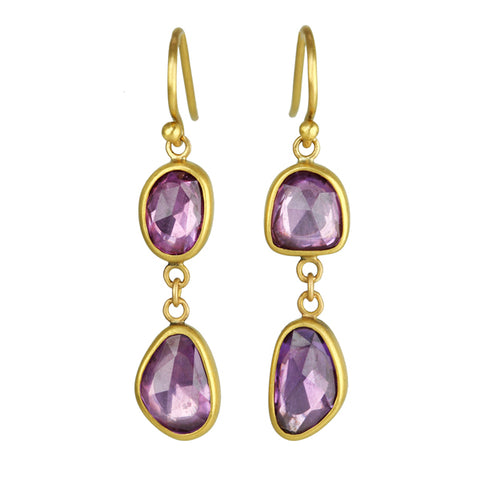 Gold and Pink/Purple Sapphire Earrings