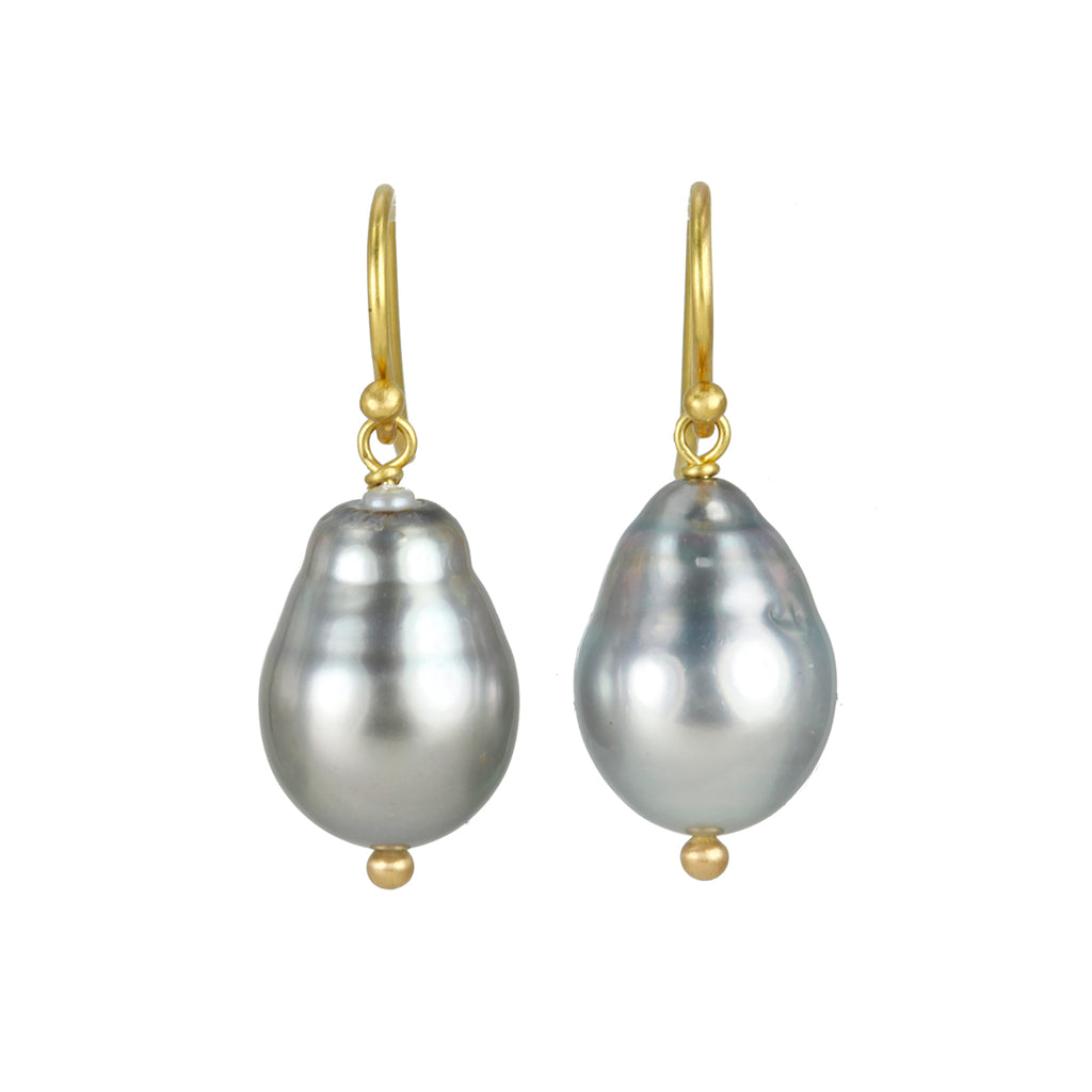Gold and Tahitian Pearl Earrings