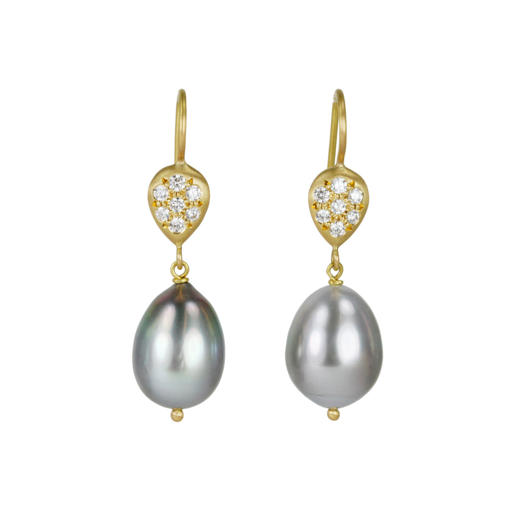 Tahitian Pearl Earrings with Pave Diamond Discs