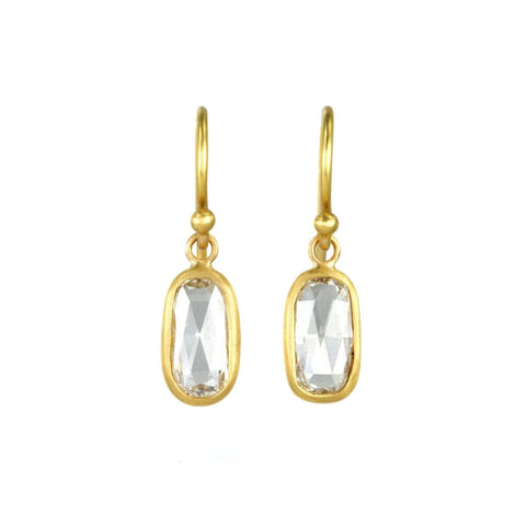 22K Gold and Rectangular Cushion Diamond Earrings