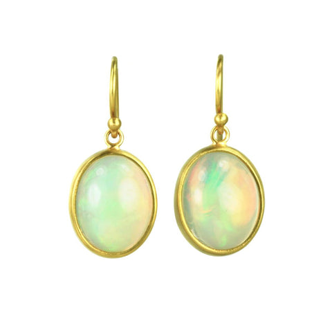 22K Gold and Oval Ethiopian Opal Drop Earrings