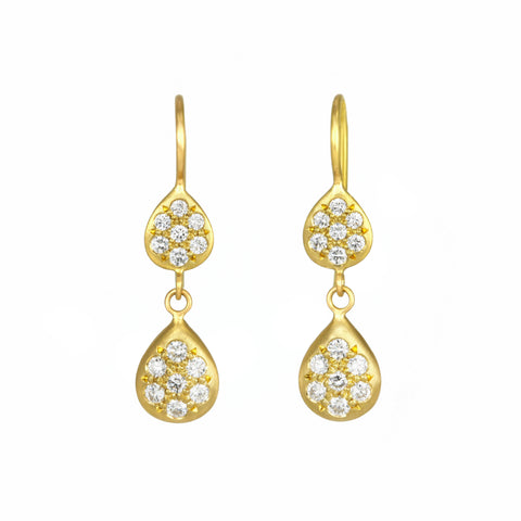 Caroline Ellen Gold Double Pear Shape Drop Earrings