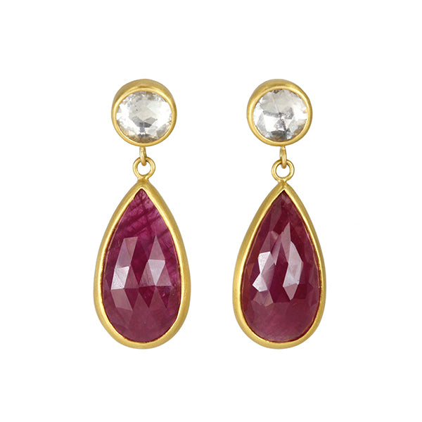 Gold and Ruby Long Pearshape Rose-Cut Earrings