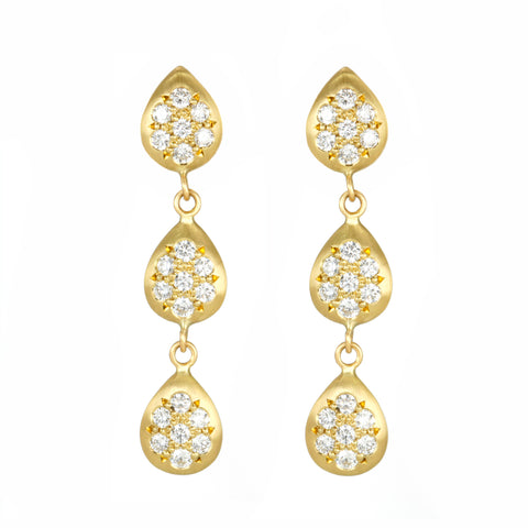Gold Triple Pave Diamond Pearshape Drops