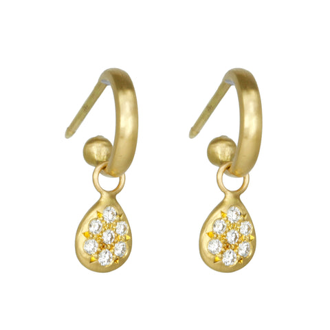 20K Gold Mini Hoop Earrings with Small Pearshape Pave Diamond Dangle