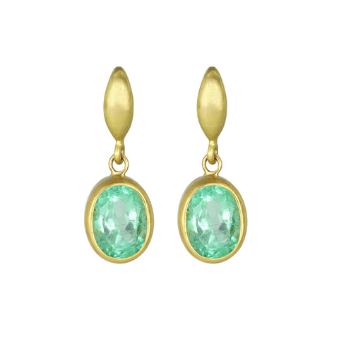Faceted Oval Emerald Drop Earrings with Post Tops