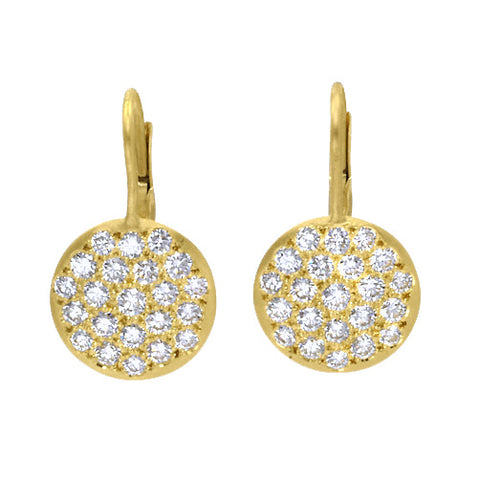 "Caroline Ellen Gold and Pave Diamond Medium ""Lentil"" Earrings"