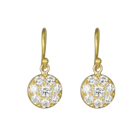 "Gold and Pave Diamond Small ""Lentil"" Earrings"