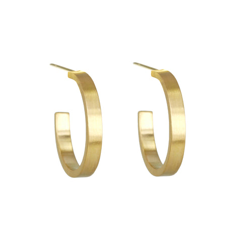 "Gold ""Flat Profile"" Small Hoop Earrings"